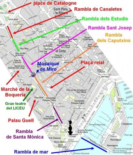 Схема города и улицы Ла Рамбла